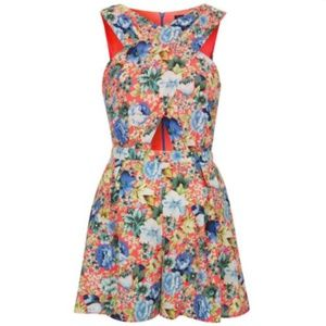 Topshop Romper 4 Neon Coral Playsuit Crossover